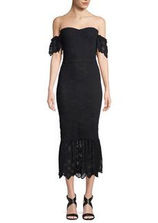 Nightcap Victorian Flutter Lace Off-the-Shoulder Cocktail Dress
