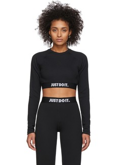 Nike Black Rib Crop Long Sleeve T-Shirt