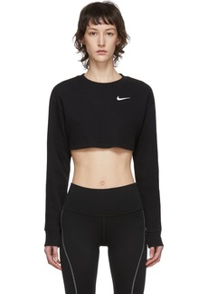 Nike Black Ribbed Crop Long Sleeve T-Shirt