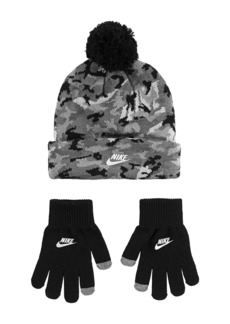Nike Camouflage Pom Beanie & Touch Screen Gloves 2-Piece Set (Little Kid)