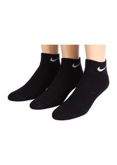 Nike Cotton Cushion Quarter Length Socks w/ Moisture Management 3-Pair Pack (Little Kid/Big Kid)