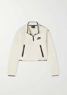 Nike Cropped Jersey-trimmed Fleece Sweatshirt