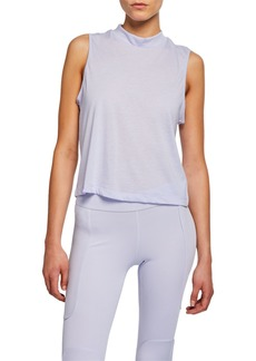 Nike Dri-FIT Mock-Neck Sleeveless Cropped Burnout Top