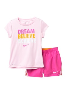 Nike Dri-Fit Short Sleeve Tee & Colorblock Shorts Set (Toddler Girls)