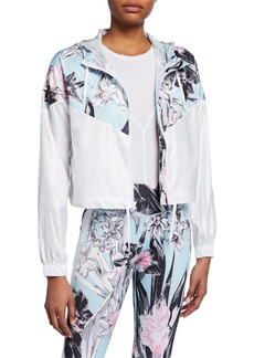 Nike Floral Colorblocked Cropped Windrunner Hooded Jacket