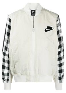 Nike gingham-panelled bomber jacket