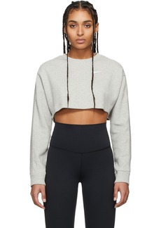Nike Grey Ribbed Cropped Long Sleeve T-Shirt