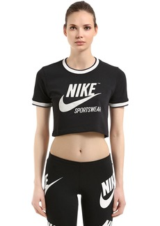 Nike Logo Printed Cropped Jersey T-shirt