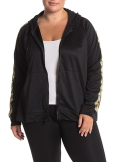 Nike Logo Stripe Sleeve Zip Up Hood Jacket (Plus Size)