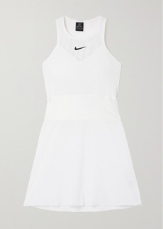 Nike Maria Cutout Satin-trimmed Stretch-lace And Seersucker Mini Tennis Dress