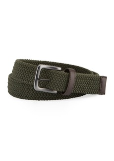 Nike Men's Stretch Woven Leather-Trim Belt