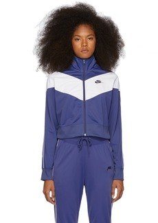 Nike Navy & White Cropped Colorblocked Track Jacket