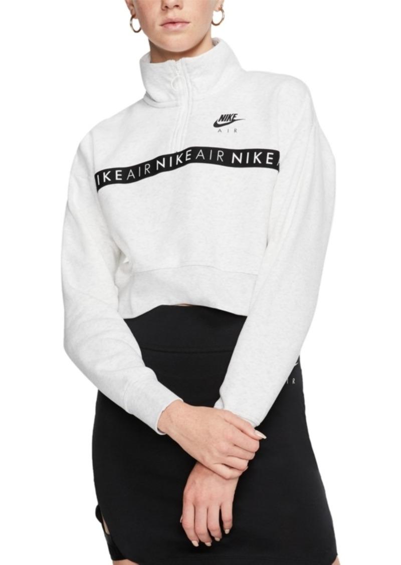 Nike Women's Air Fleece Half-Zip Cropped Top