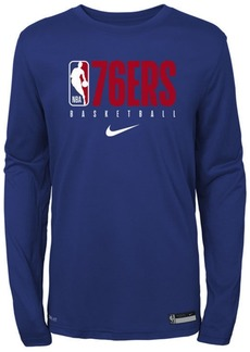 Nike Big Boys Philadelphia 76ers Practice Long Sleeve T-Shirt