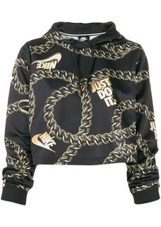 Nike chain-link printed cropped hoodie