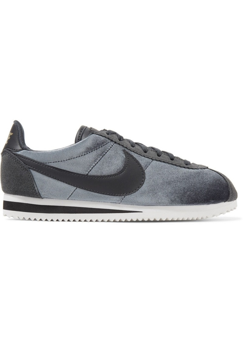 new style f3470 1a18b Classic Cortez suede and leather-trimmed velvet sneakers. Nike