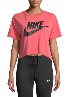 Nike Crewneck Short-Sleeve Graphic Logo Cropped T-Shirt