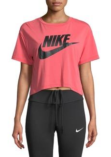 Nike Crewneck Short-Sleeve Graphic Logo Cropped T-Shirt