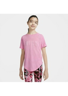 Nike Dry-Fit Trophy Big Girl's Graphic Short-Sleeve Training Top