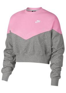 Nike Fleece Colorblocked Cropped Sweatshirt