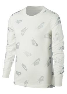 Nike Girl's Sportswear Cotton Long-Sleeve Tee