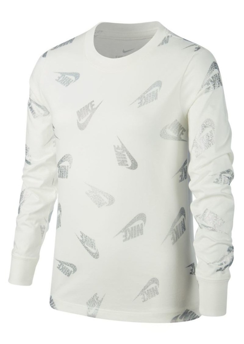 Nike Girl's Sportswear Cotton Long-Sleeve Tee