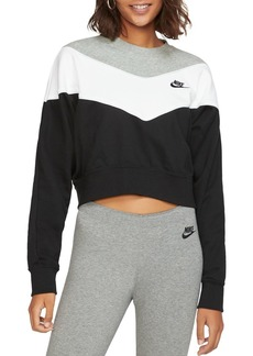Nike Heritage Color-Block Cropped Sweatshirt