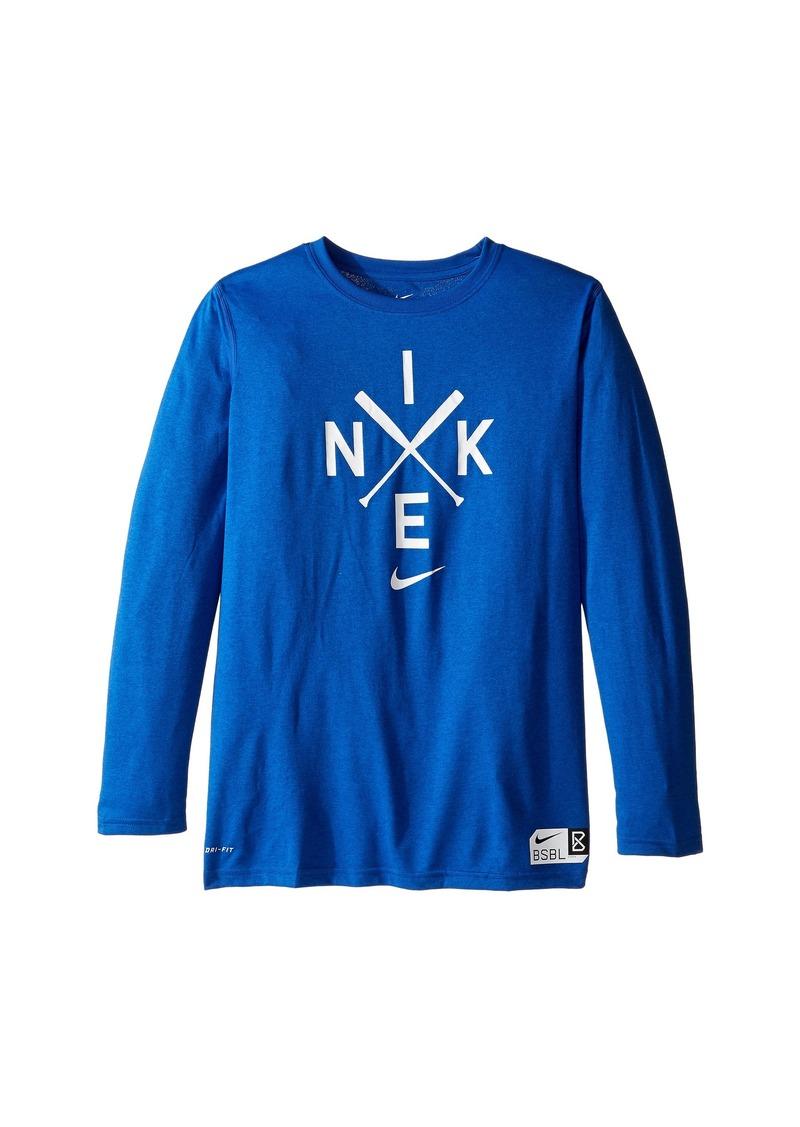 Nike Kids Legend Long Sleeve Baseball Logo Tee (Little Kids/Big Kids)