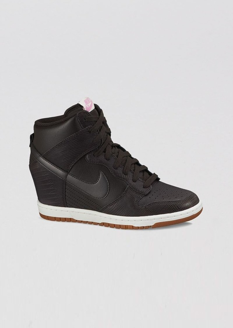 nike nike lace up high top wedge sneakers women 39 s dunk sky hi embossed shoes. Black Bedroom Furniture Sets. Home Design Ideas