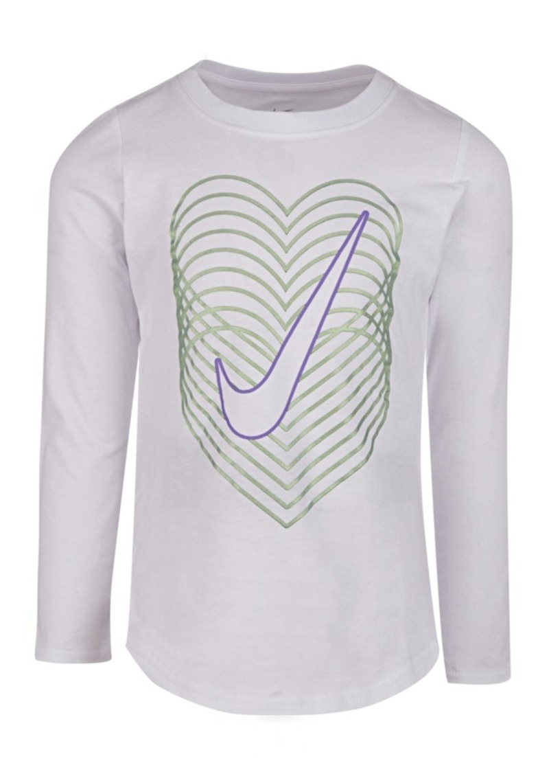 Nike Little Girls Cotton Reverb Heart Swoosh T-Shirt
