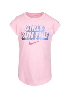"Nike Little Girls ""Girls Run This"" Logo Graphic T-shirt"