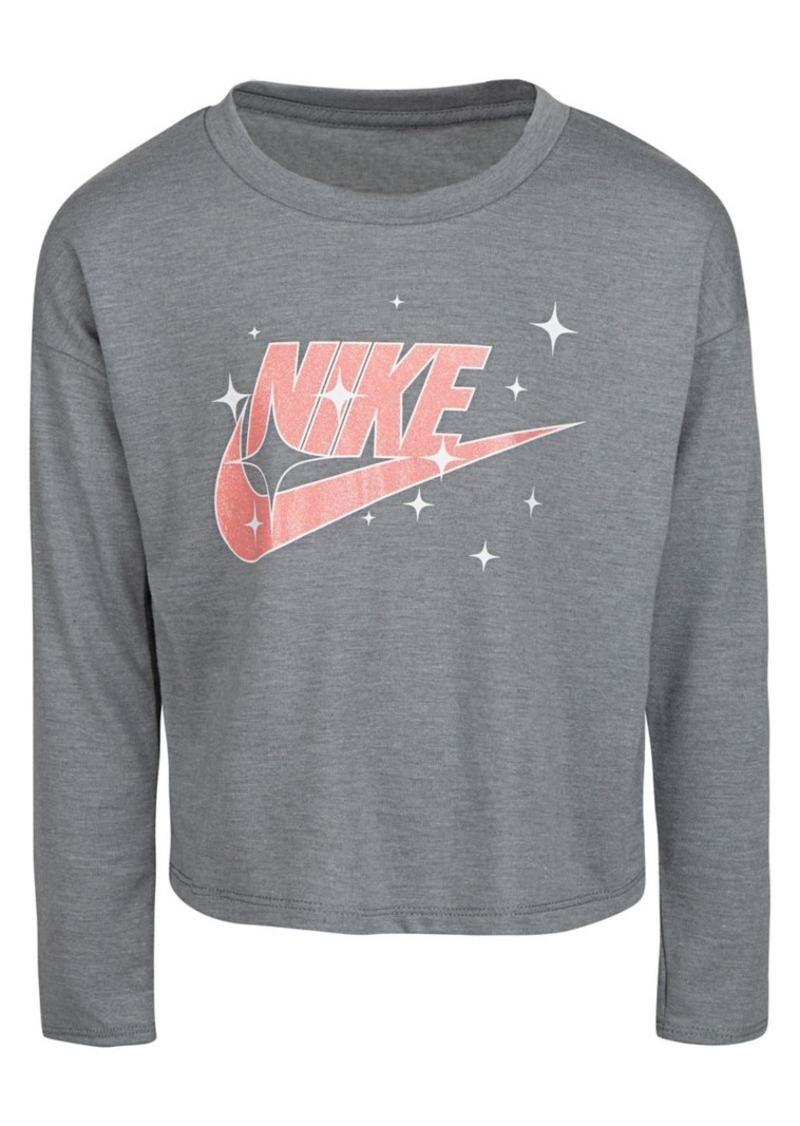 Nike Little Girl's Logo Heathered Cotton Top