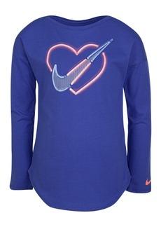 Nike Little Girls Neon Heart-Print Cotton T-Shirt