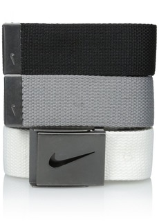 Nike Men's 3 Pack Golf Web Belt White/gray/black