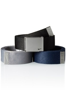 Nike Men's 3 Pack Web Belt black/Grey/Navy