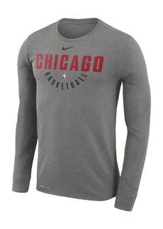 Nike Men's Chicago Bulls Dri-fit Cotton Practice Long Sleeve T-Shirt