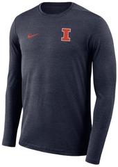 Nike Men's Illinois Fighting Illini Long Sleeve Dri-Fit Coaches T-Shirt
