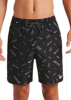 "Nike Men's Logofetti Lap Water-Repellent Logo-Print 7"" Swim Trunks"