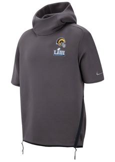 Nike Men's Los Angeles Rams Super Bowl Liii Bound Media Day Therma Short Sleeve Hoodie