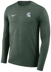 Nike Men's Michigan State Spartans Long Sleeve Dri-Fit Coaches T-Shirt