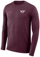 Nike Men's Virginia Tech Hokies Long Sleeve Dri-Fit Coaches T-Shirt