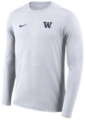 Nike Men's Washington Huskies Long Sleeve Dri-Fit Coaches T-Shirt