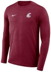 Nike Men's Washington State Cougars Long Sleeve Dri-Fit Coaches T-Shirt