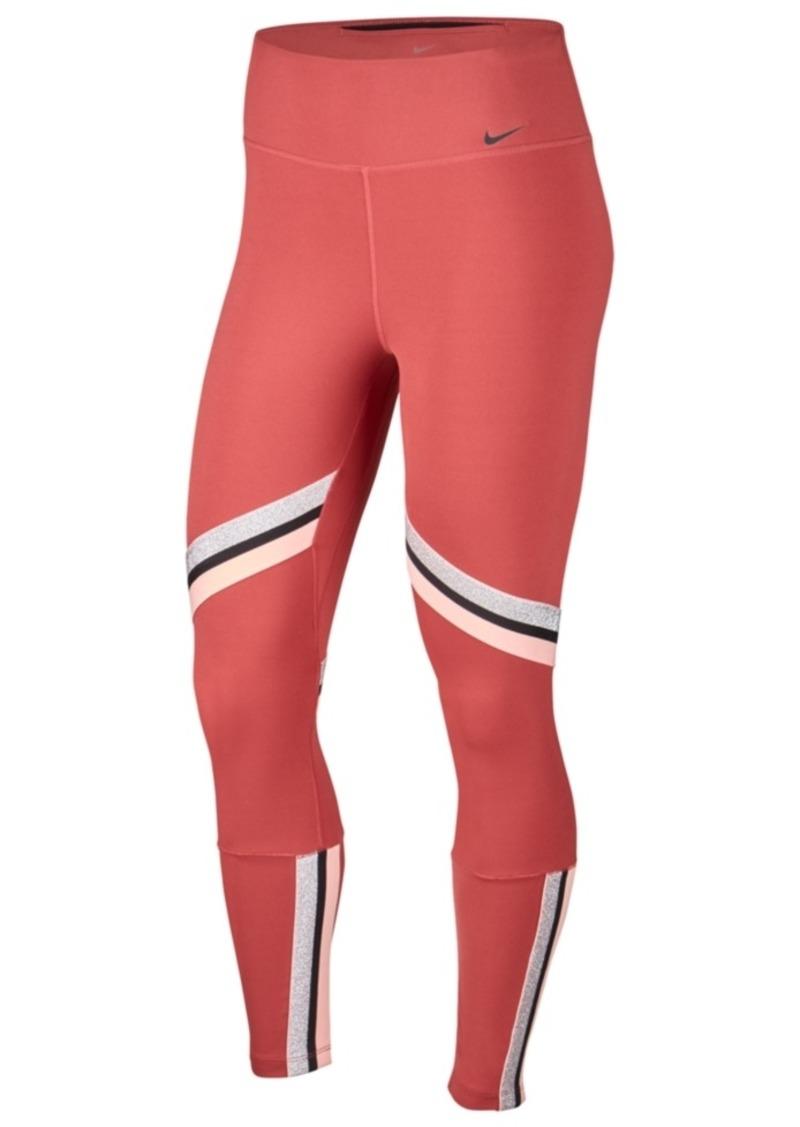 Nike Women's One Icon Clash Dri-fit Metallic-Stripe Leggings