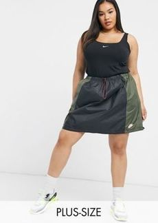 Nike Plus color block utility skirt with drawcord in khaki and black