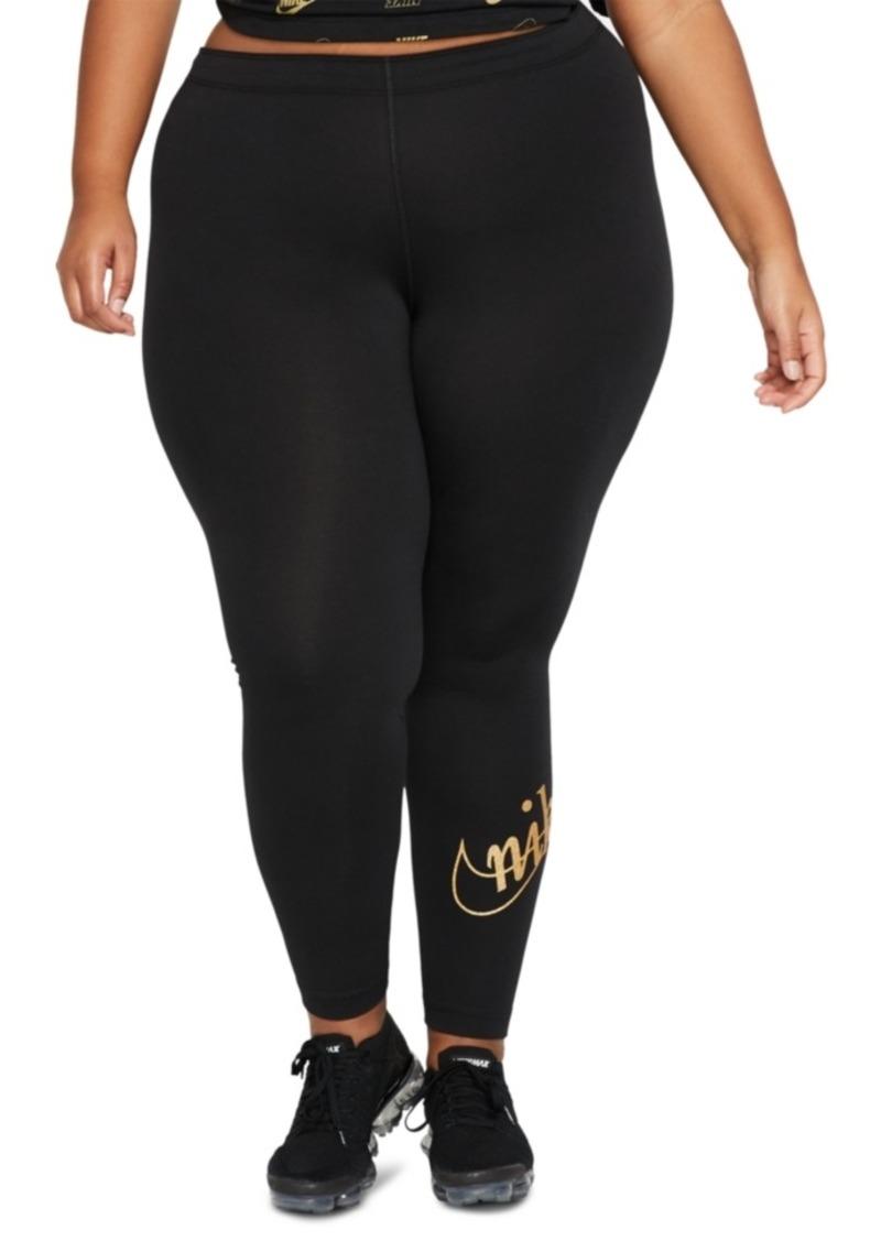 Nike Plus Size Glitter-Logo Leggings