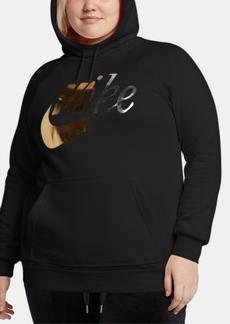 Nike Plus Size Sportswear Rally Metallic-Logo Hoodie