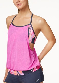 Nike Rule Beam Layered Halter Tankini Top Women's Swimsuit