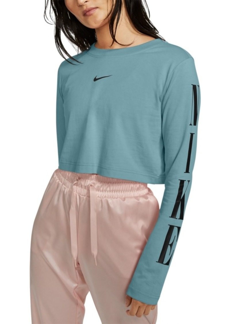 Nike Sportswear Cotton Long-Sleeve Cropped T-Shirt