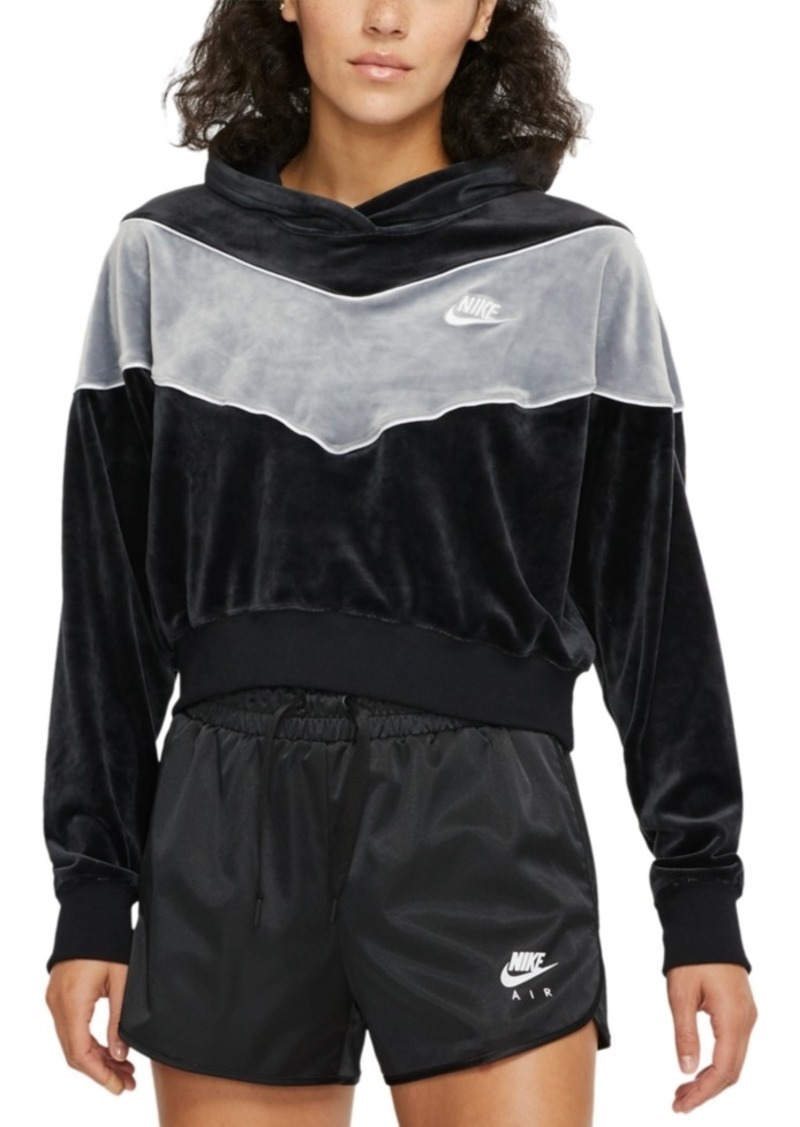 Nike Women's Sportswear Heritage Colorblocked Velour Cropped Hoodie